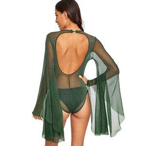 See Through Backless Bell Sleeve Mesh Bodysuit